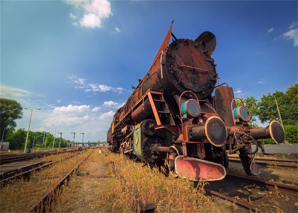 Leowefowa 7X5FT Old Locomotive Backdrop Vintage Steam Train Backdrops for Photography Ruined Railroad Tracks Dry Grass Blue Sky White Cloud Nature Polyester Photo Background Travel Studio Props