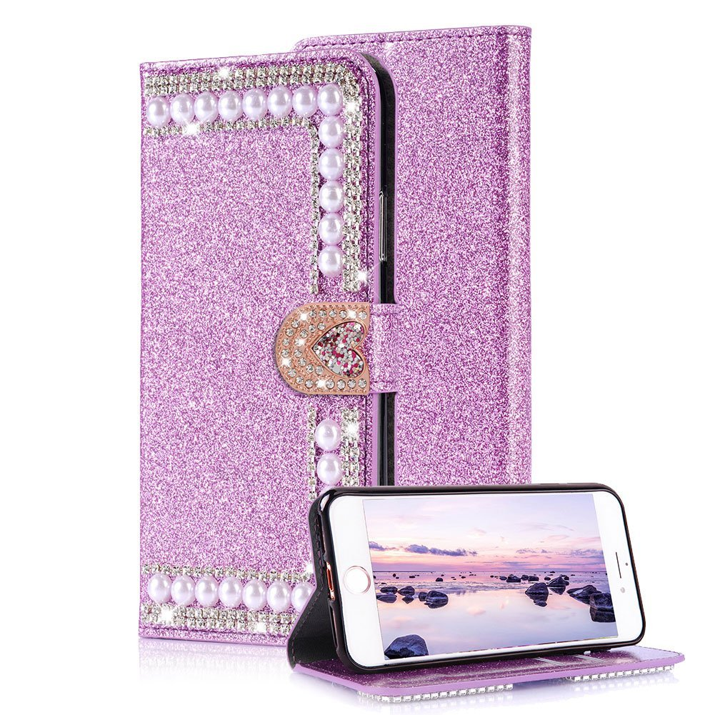 Amazon.com: Aearl iPhone 7 Diamante Cartera Funda para Mujer ...