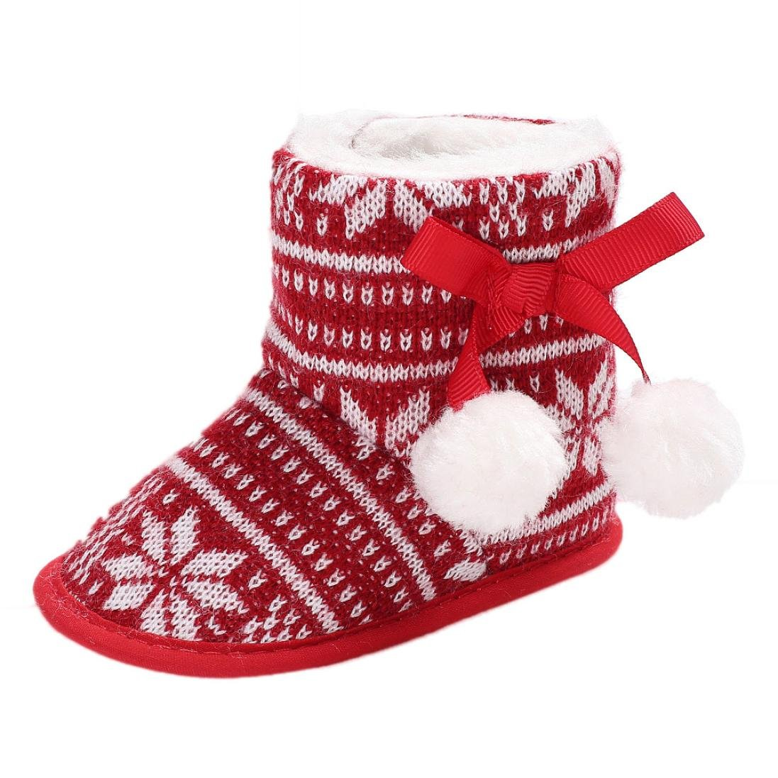 WARMSHOP Toddler Boots Christmas Ball Soft Sole Anti-slip Warm Crib Shoes