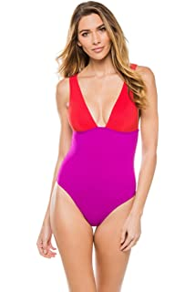 96bc5f38e81 Karla Colletto Women's Colorblocked Over The Shoulder One Piece Swimsuit  Swimsuit