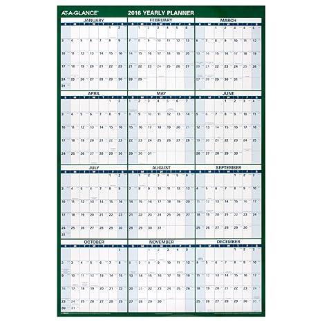 amazon com at a glance wall calendar 2016 erasable 12 months