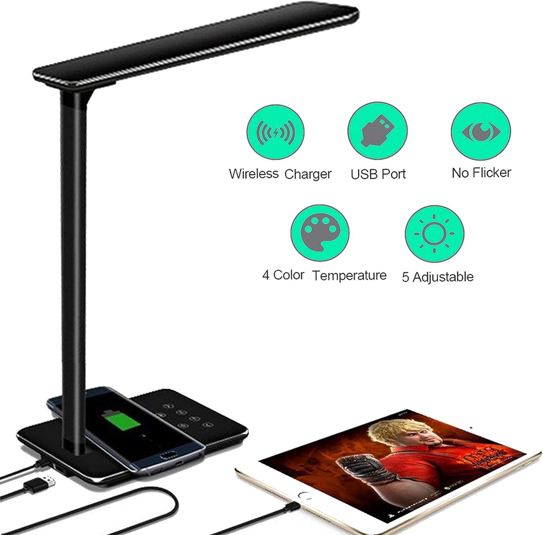 48 LED Wireless QI Ladegerät Schreibtischlampe USB Bürolampe Touch Lese-Lampe DE