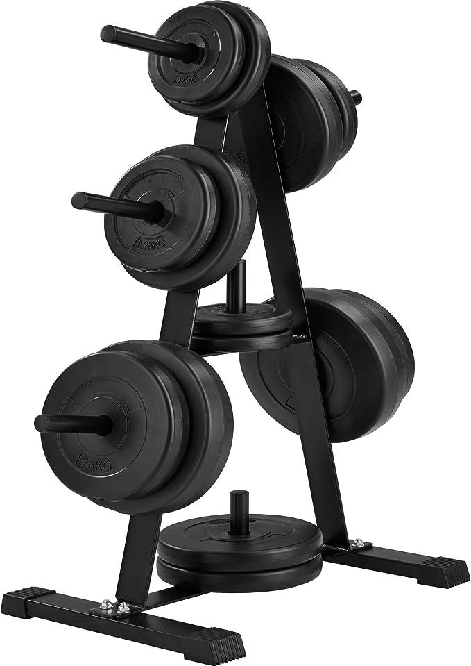 TecTake Soporte para discos de pesas con 7 barras | Diámetro de la ...