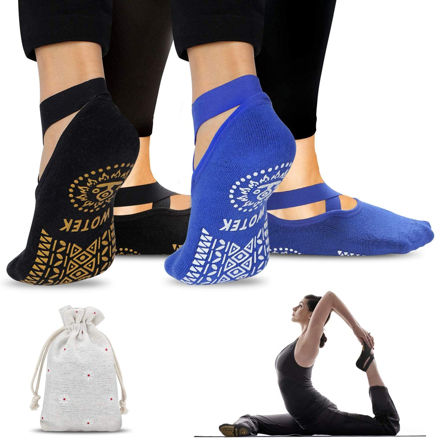 ideales para hacer ejercicio trampol/ín ISUDA Calcetines antideslizantes para mujeres paquete de 2 calcetines deportivos Azul y Negro entrenamiento descalzo