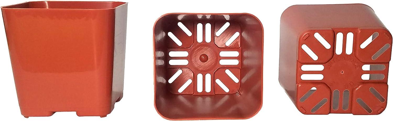 50-Pack, Water Dance Square Plastic Pots for Plants, 2-Inch. Color: Terracotta