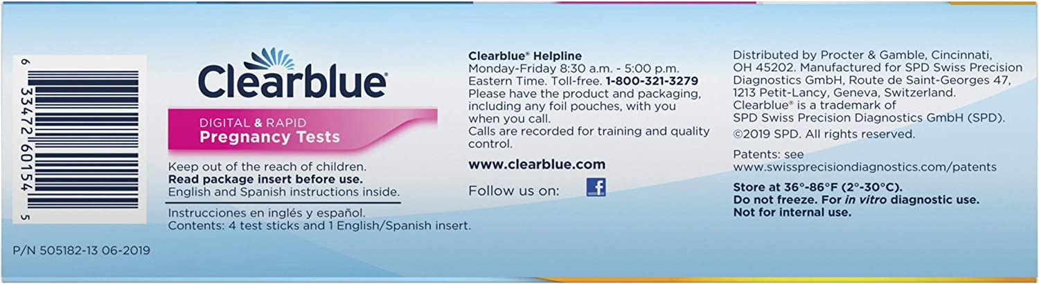Clearblue Pregnancy Test Combo Pack, 4ct  - Digital with Smart Countdown & Rapid Detection - Value Pack