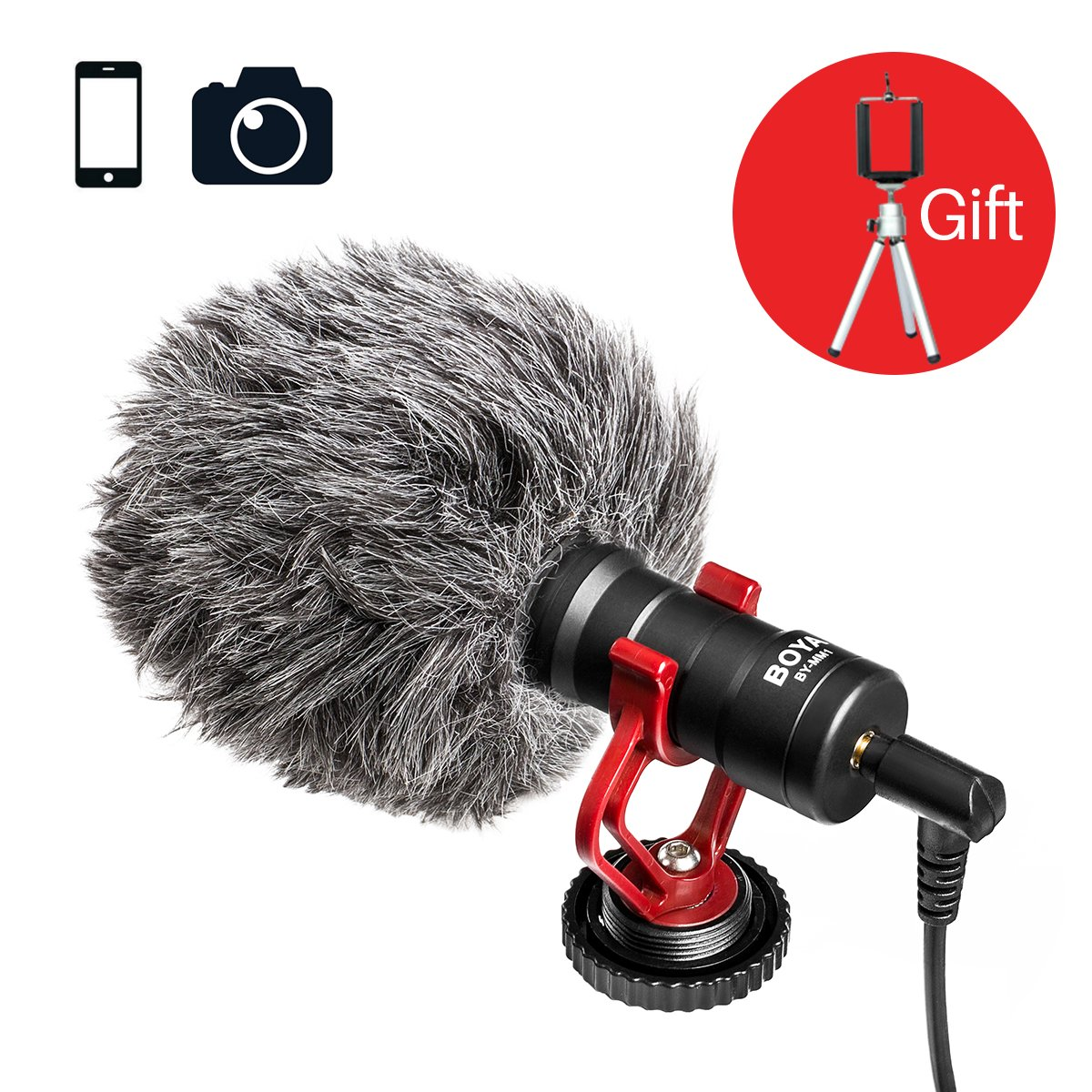 Free Tripod Gift, BOYA BY-MM1 Universal Video Microphone with Shock Mount, Deadcat Windscreen, Case for iPhone/Andoid Smartphones, Canon EOS/Nikon DSLR Cameras and Camcorders