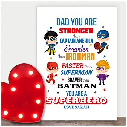 Superhero personalised A5 birthday card fathers day dad son brother grandad name