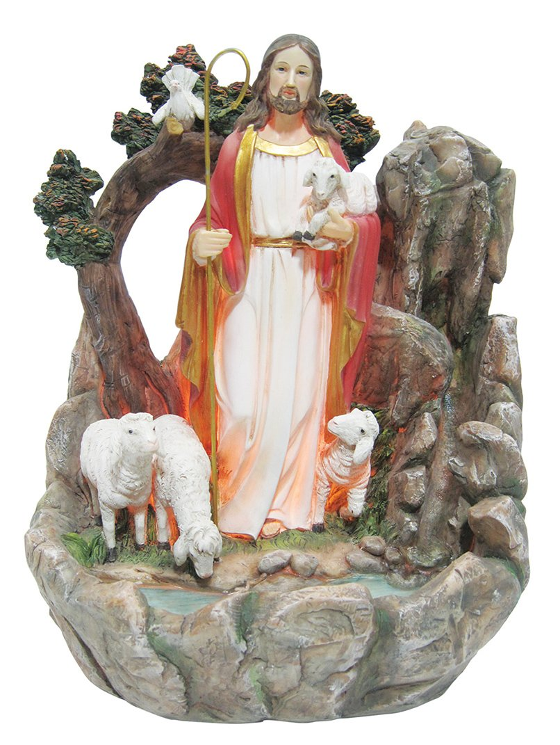 14 Inch Good Shepherd with Light and Water Fountain Jesus Deco