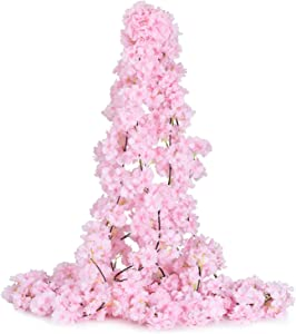 DearHouse 2 Pack Artificial Cherry Blossom Garland Hanging Vine Faux Cherry Blossom Flowers Garland for Home Garden Wedding Party Decor, Light Pink