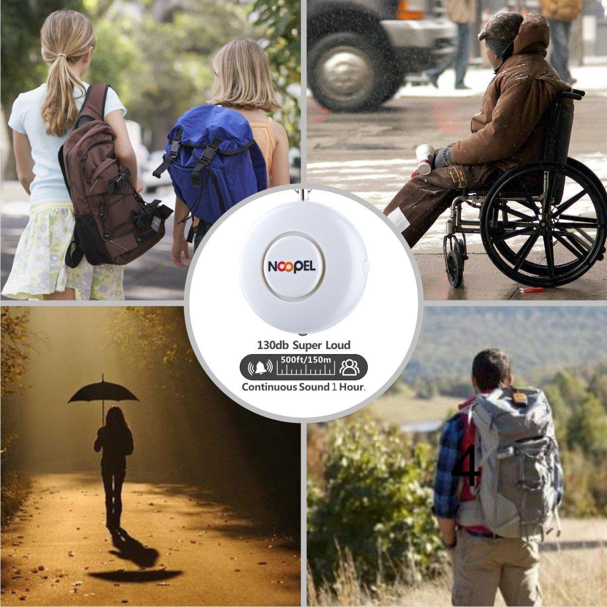 Noopel - Alarma de autodefensa de 130 dB con llavero y linterna, para mujeres, niños y estudiantes, blanco: Amazon.es: Bricolaje y herramientas
