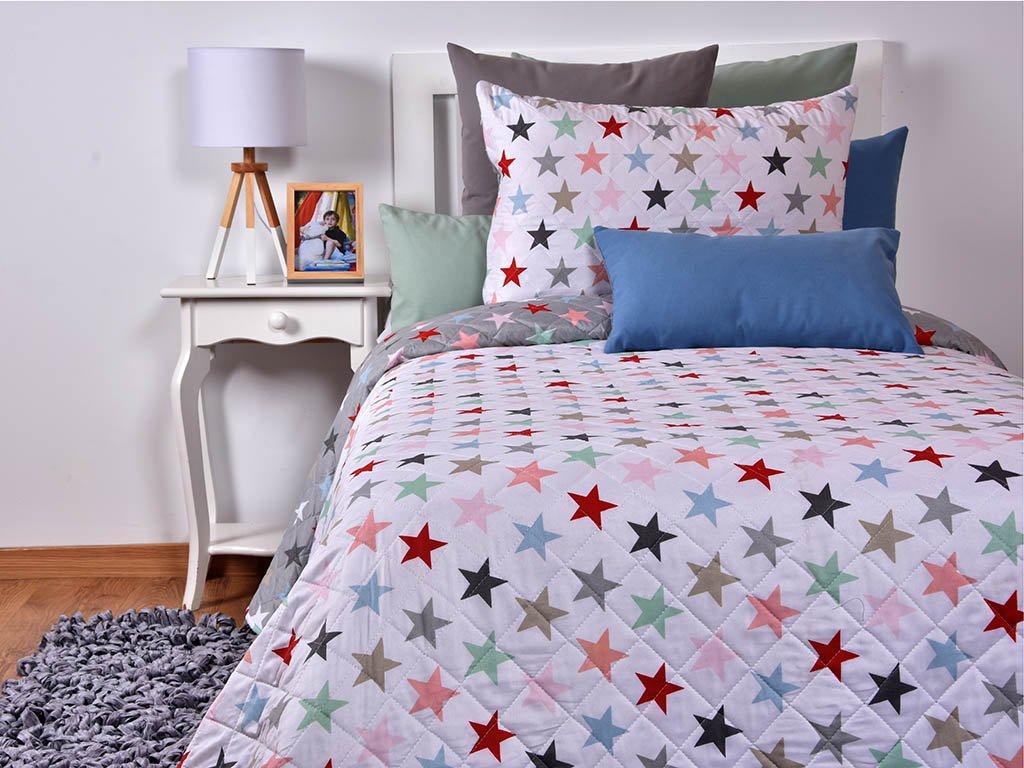 Boutique mi casa Couvre-lit bouti étoiles réversible, comprend 1ud Housse Coussin 50x 70cm cama 90 cm (180x270 cm)
