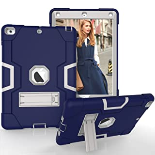 Hansin Kickstand Coque pour Apple Nouvel iPad 9,7 Pouces 2018/2017 - 3in1 Antichoc Etui Lourd Devoir Robuste Résistant Cover Protection Housse avec Stand Fonction, Noir/Bleu