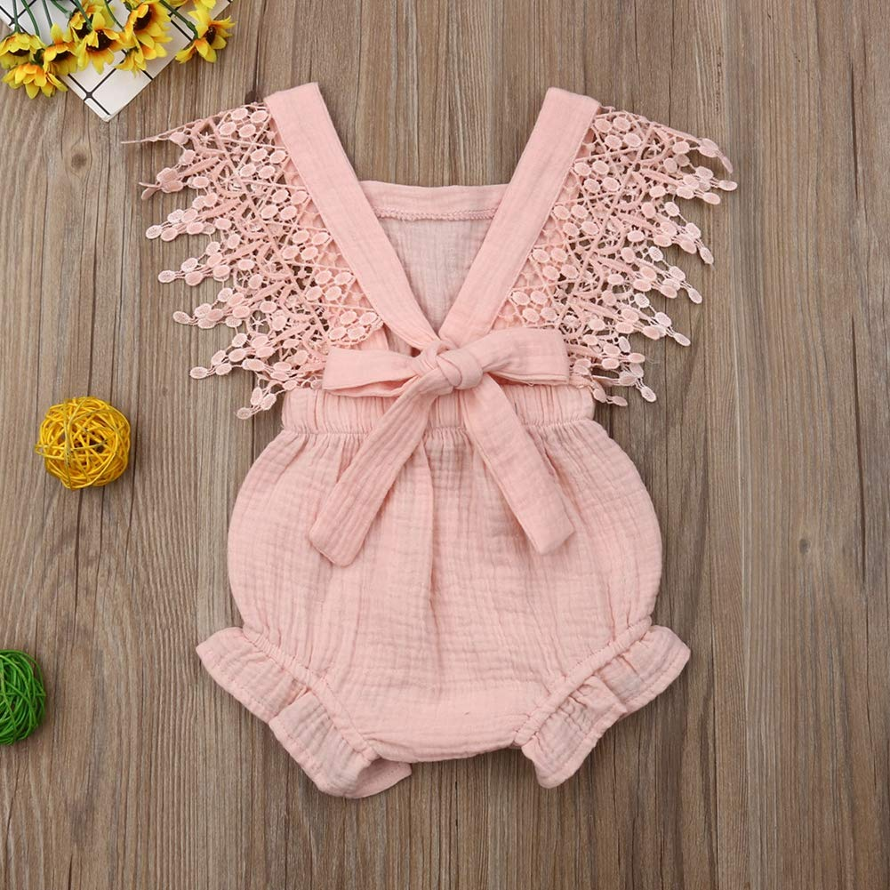 Mikely store Baby Girls Linen Bowknot Romper Lace Floral Bodysuit Jumpsuit Outfit Set 0-24 Months