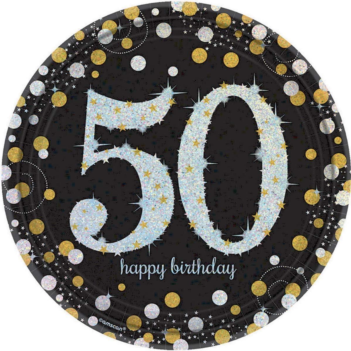 23cm Amscan Pack of 8 50 Sparkling Celebrations Gold Prismatic Round Paper