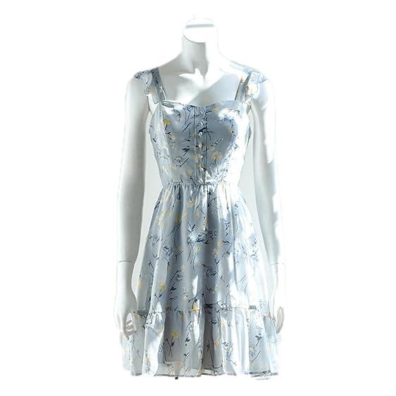 Twilaisaac Fashion europa botão bonito mulheres strap dress strapless plissada chiffon dress blue sky impresso vestidos