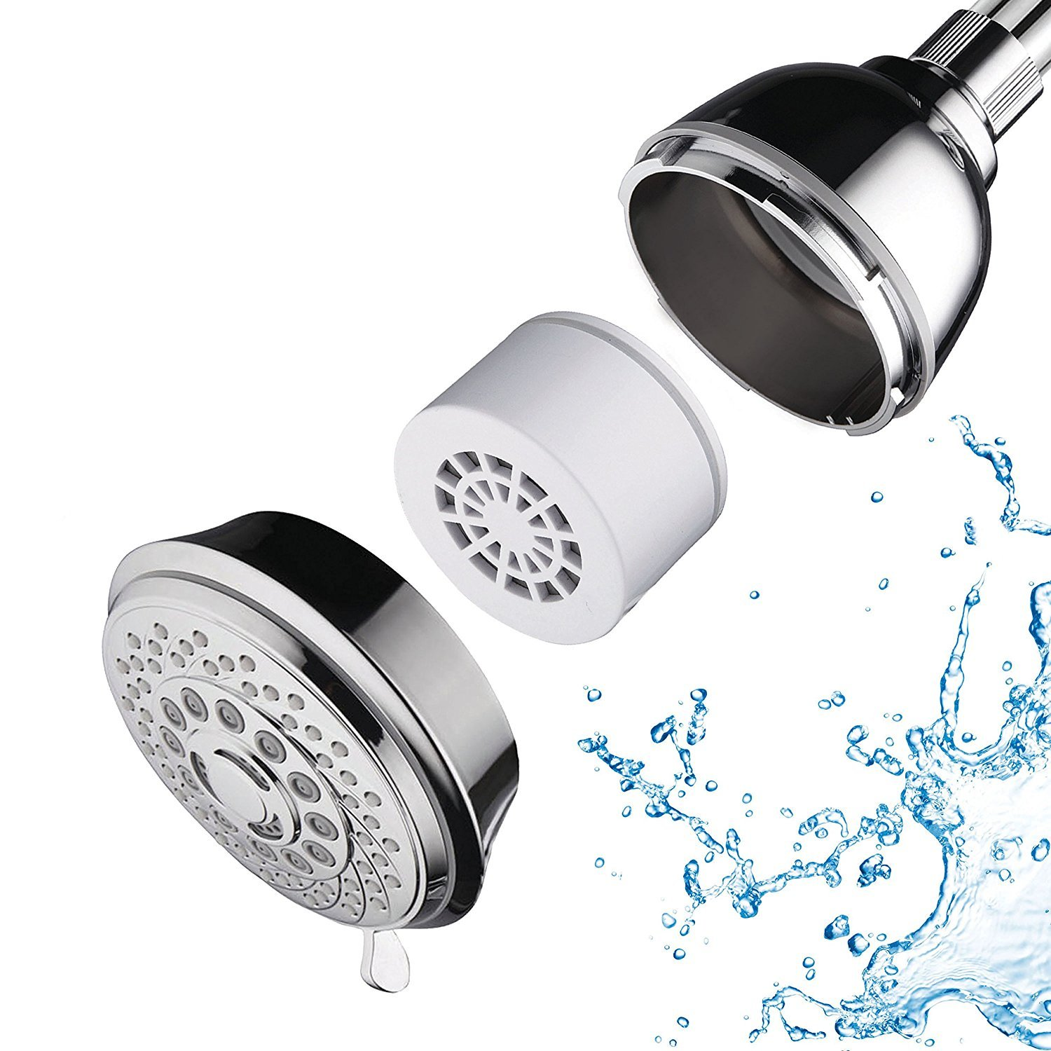 AquaCare by Hotel Spa 7-Setting Filtered Handheld Shower Head with Patented ON//Off Pause Switch and 3-Stage Shower Filter Cartridge Inside