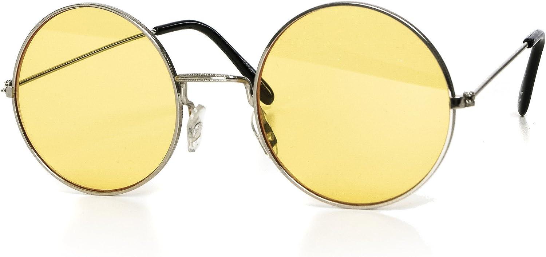 Gafas de sol redondas hombre o mujer unisex retro espejo transparente UV400 CAT 3 CE-Norm oro plata negro azul por EYES ON ME, Color: plata amarillo teñido