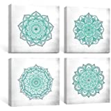SUMGAR Blue Wall Art Bedroom Boho Decor Mandala Canvas Paintings Teal Flowers Framed Pictures Bathroom Aqua Floral Prints Indian Bohemian Artwork Yoga Spa Home Decorations Geometric 4 Piece,12x12 in