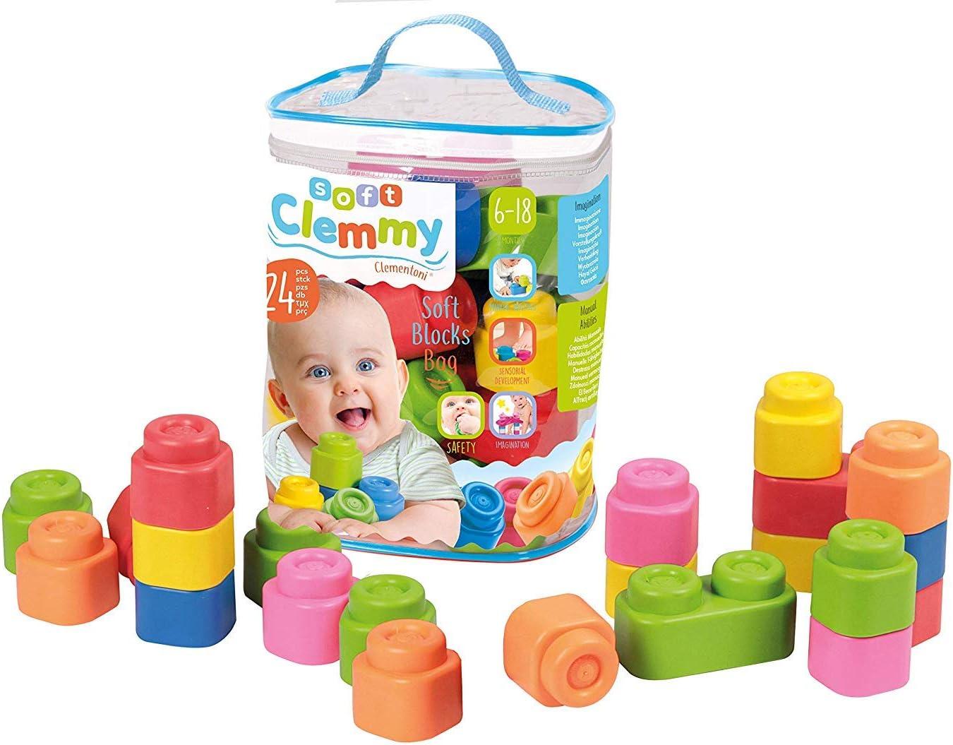 Clementoni-Baby Clemmy Construcción 24 Bloques blandito, Multicolor, (14889)