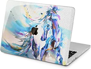 """Cavka Hard Shell Case for Apple MacBook Pro 13"""" 2019 15"""" 2018 Air 13"""" 2020 Retina 2015 Mac 11"""" Mac 12"""" Design Glam Print Plastic Cover Painting Protective Animal Horse Laptop Blue Watercolor Canvas"""