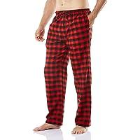 CQR Men's Pajamas 100% Cotton Sleep Soft Lounge Flannel Pants