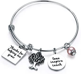 Udobuy Teacher Bangle Bracelet-Teacher Gift, Show Your Teacher Appreciation Thank You Gifts for Teachers