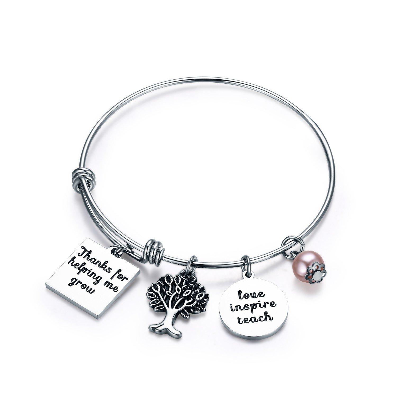 Udobuy Teacher Bangle Bracelet-Teacher Gift, Show Your Teacher Appreciation Thank You Gifts for Teachers Graduation Gifts for Teacher