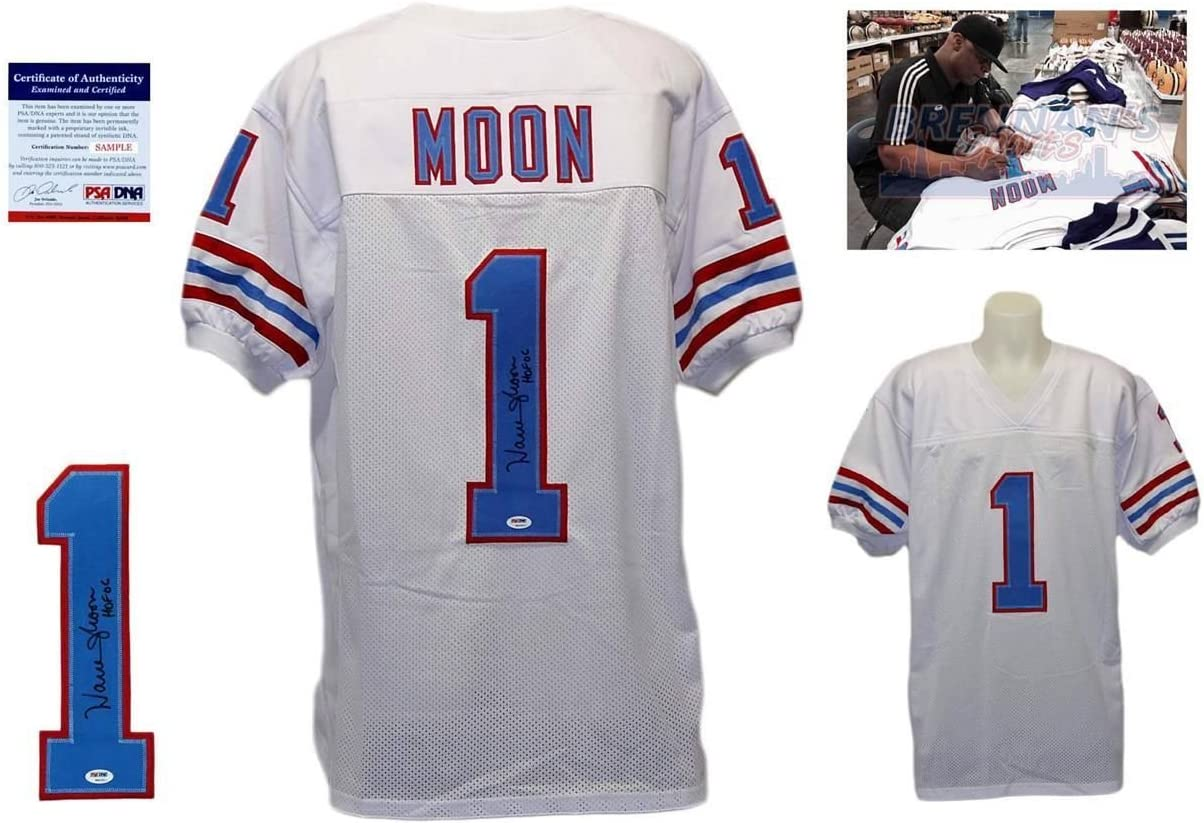 Warren Moon Signed Custom Jersey - PSA/DNA - Autographed w/ Photo - White