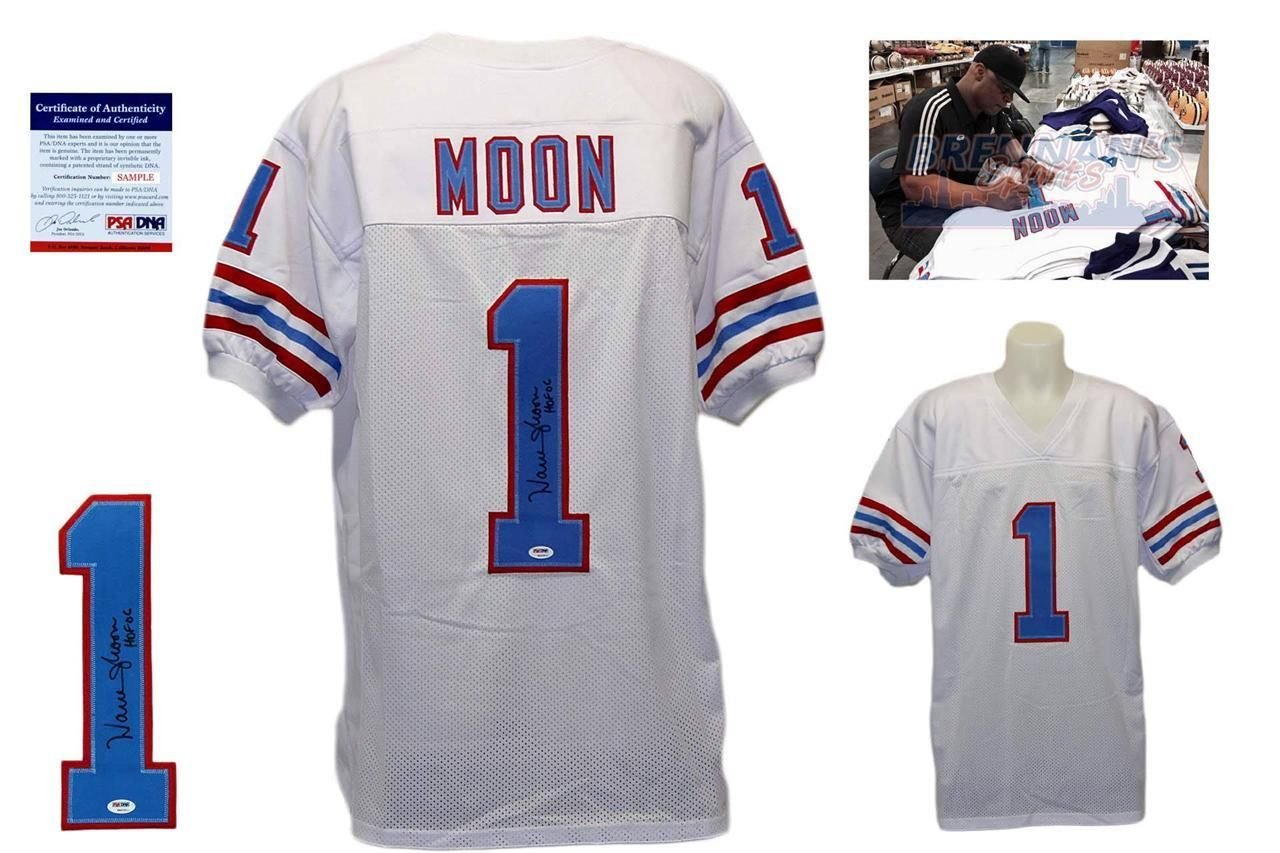 ... size XL Warren Moon Signed Custom Jersey - PSADNA - Autographed w Photo  - White at Amazons Sports ... 08cc80747