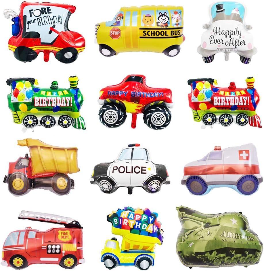 12Piezas Juego de Globos, Vehículos Globos de Papel de Aluminio, Helio Mylar Cars Globos Kits Para Fiestas de Niños Cumpleaños Fiesta de Bienvenida al Bebé Decoración Proveedor Regalo de Los Niños