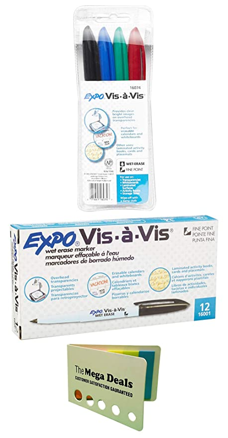 Expo Vis-A-Vis Wet-Erase Overhead Transparency Markers, Fine Tip, Black, 12-Count | Wet-Erase Markers, Fine Point, Assorted Colors, 4-Count | Includes ...