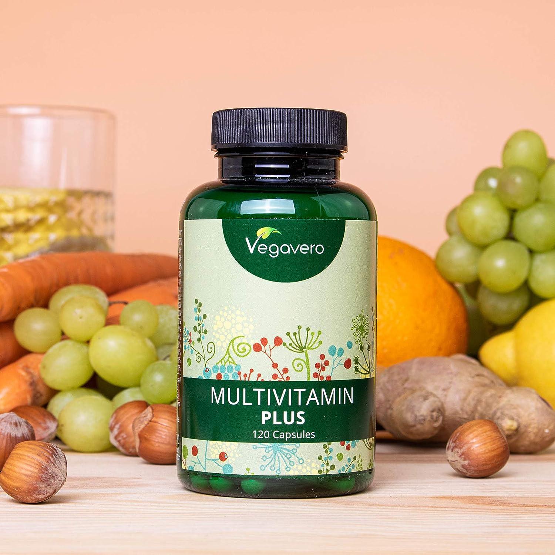 Multivitaminas Vegano Vegavero® | Natural | EL ÚNICO SIN ADITIVOS | 120 Cápsulas | 12 Vitaminas + 5 Minerales | Para Hombre y Mujer | Vitaminas para ...