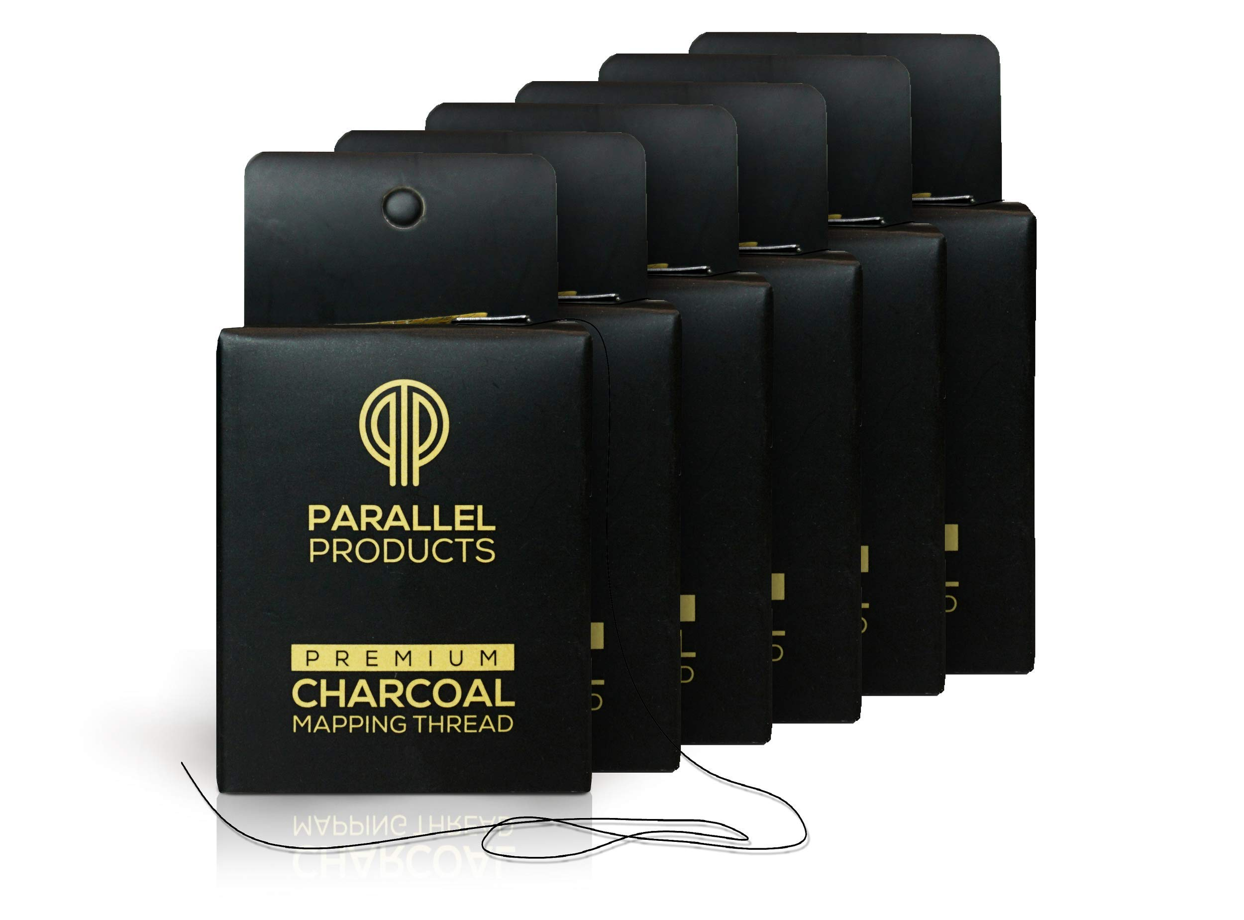 Parallel Products - (6 Pack) Premium Eyebrow Mapping String for Microblading - Pre-Inked - 1 mm Fine Bamboo Charcoal Thread - 10 Meters/32 Feet per Box