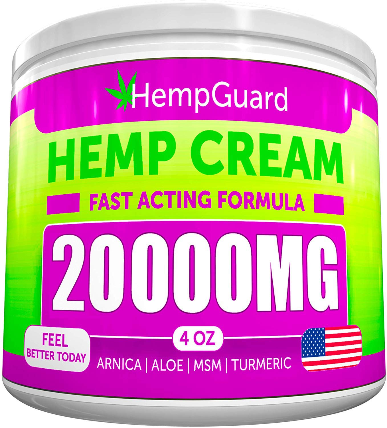 Hemp Pain Relief Cream - 20 000 MG - Made in USA - 4OZ - Relieves Muscle, Joint Pain - Lower Back Pain - Inflammation - Hemp Oil Extract with MSM - EMU Oil - Arnica - Turmeric by Arvesa