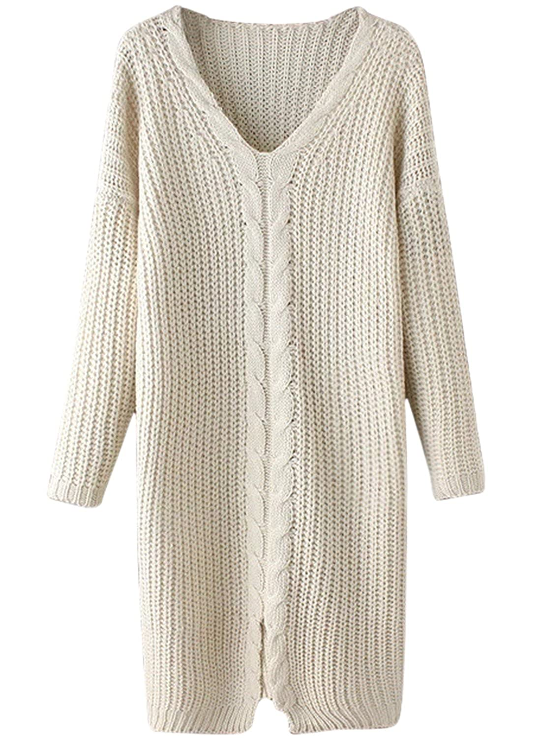 ACHICGIRL Women's V Neck front Slit Cable Knitted Pullover Sweater