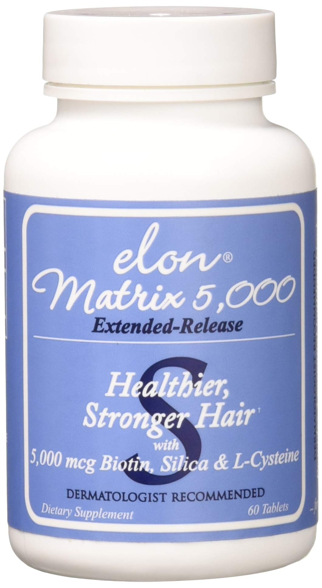 ELON Matrix 5,000 – Hair Vitamin For Longer, Stronger, Healthier Hair – Formulated with Extended Release Biotin – For All Hair Types – Men & Women – Tablets (60 Day Supply)