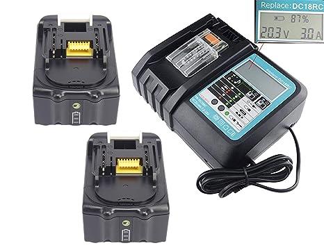 YASI MFG para 2 pieza Makita BL1850B LED 5000 mAh batería ...