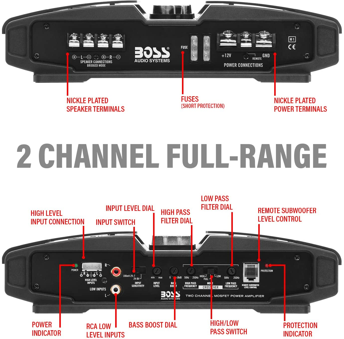 1600 Watts Mosfet Power Supply Class A//B 2-8 Ohm Stable Full Range Bridgeable BOSS Audio Systems PT1600 2 Channel Car Amplifier