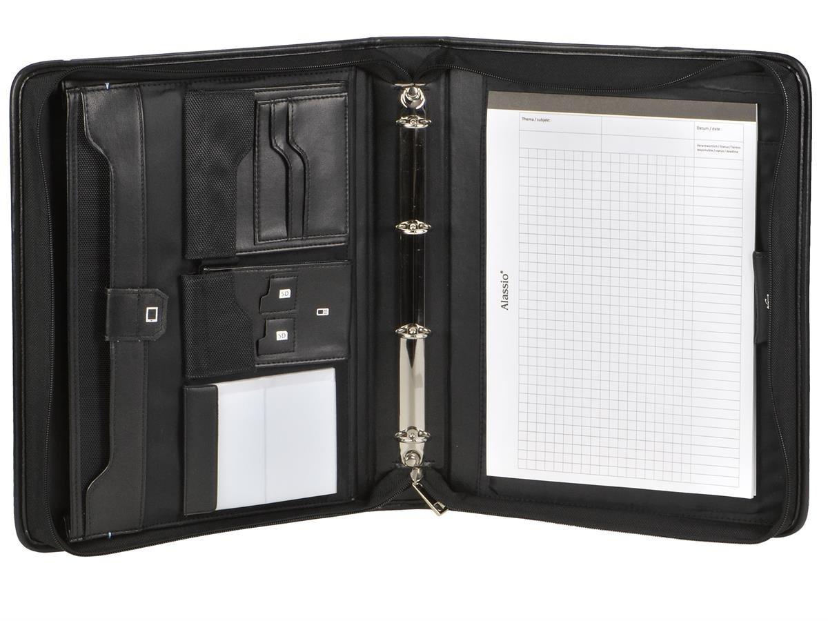 Cartella portadocumenti A4Nero con 20mm anelli, scomparto per tablet e manico + 100Buste Trasparenti OUM