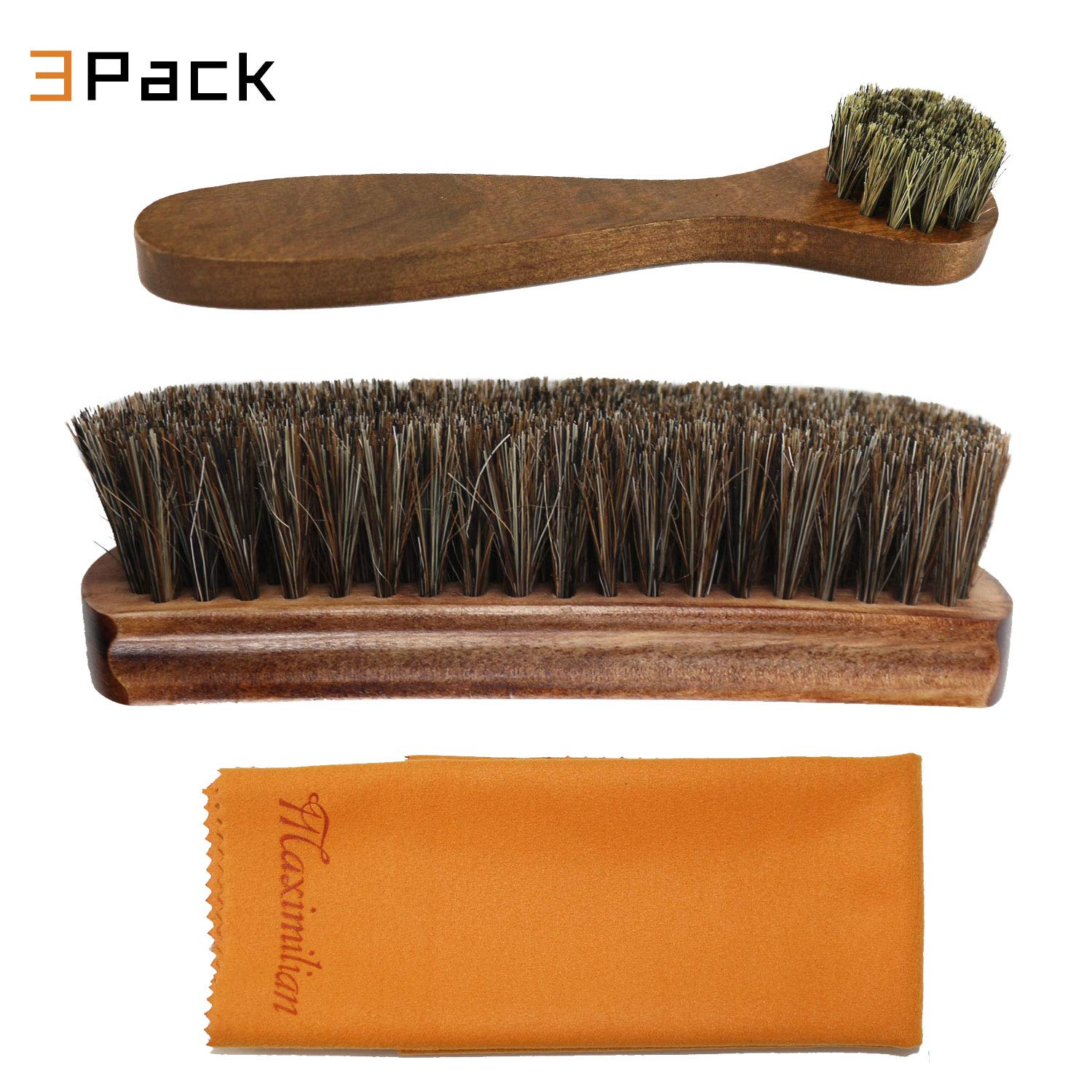 100/% Brown Solid Wood Horse Hair Shoe Brush Long Handle Horse Hair Shoe Brush Shoe Shine Tool Set Double Suede Suede Cloth