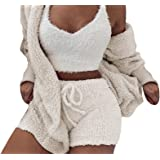 Famnbro Womens Sexy 3 Piece Outfits Fuzzy Fleece Open Front Hooded Cardigan + Crop Top Shorts Set Loungewear