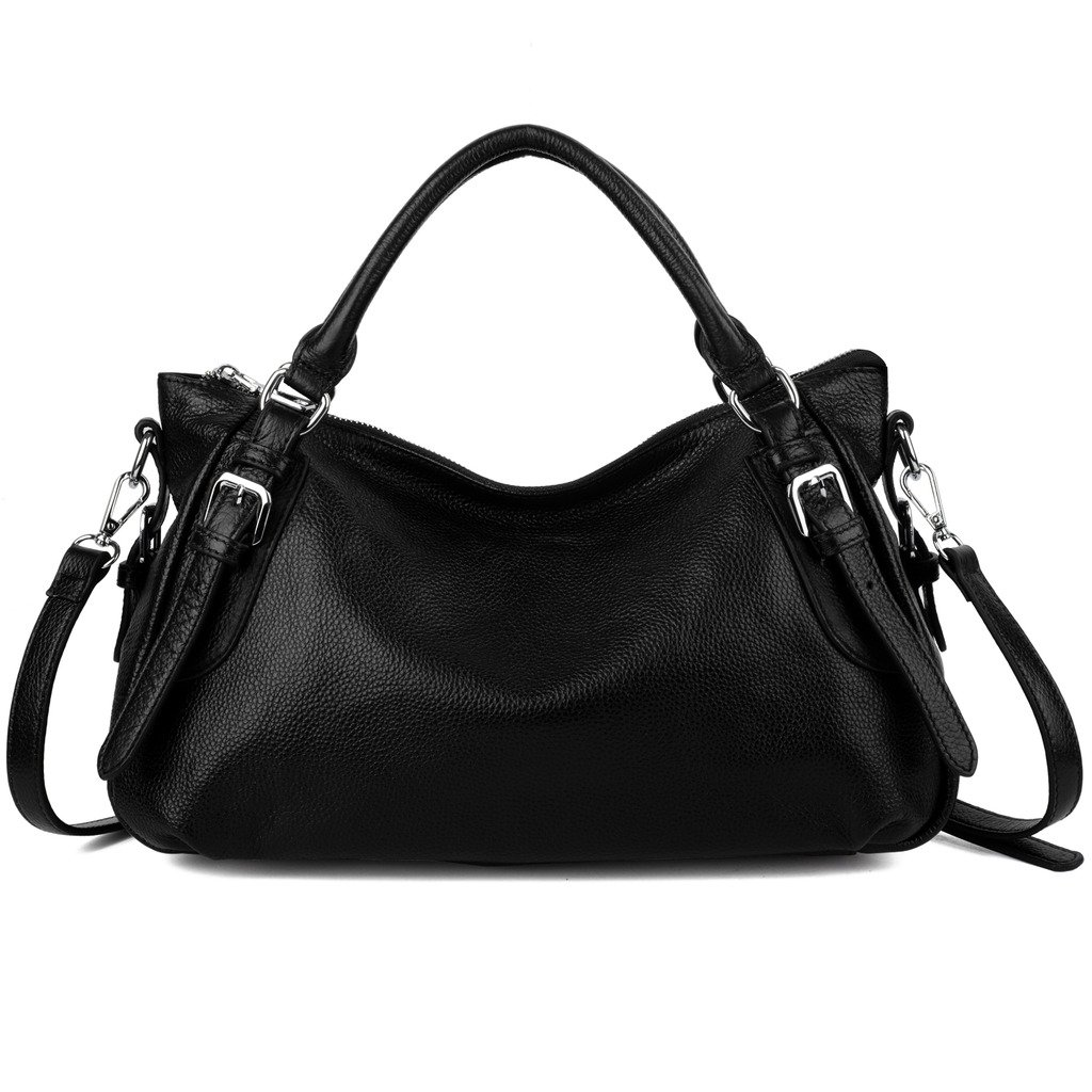 YALUXE Women's Soft Real Leather Handy Hobo Style Handbag (Upgraded 2.0) Black