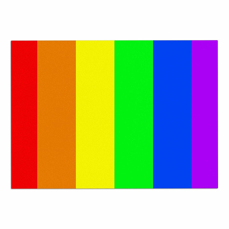 Kess InHouse Bruce Stanfield Rainbow Stripes Digital Pet Bowl Placemat, 24 x15