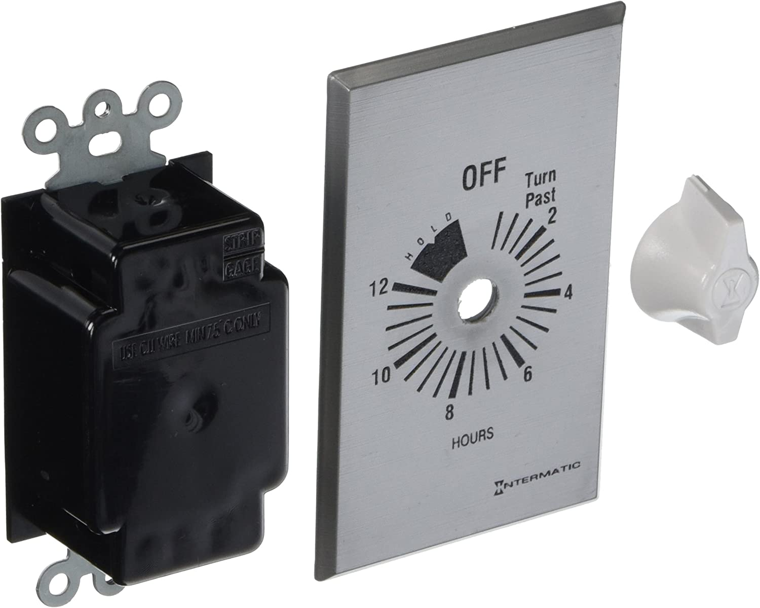 Intermatic FF312H 12-Hour Spring Loaded Wall Timer Brushed Metal Finish