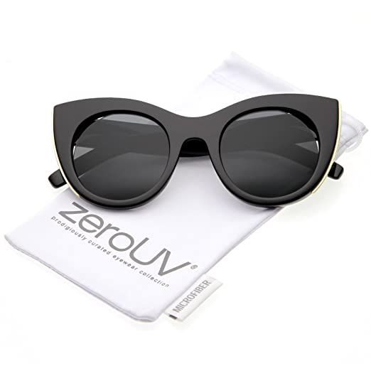 1e6145ca7fa zeroUV - Women s Oversize Cat Eye Sunglasses With Metal Trim Cutouts And  Round Flat Lens 48mm
