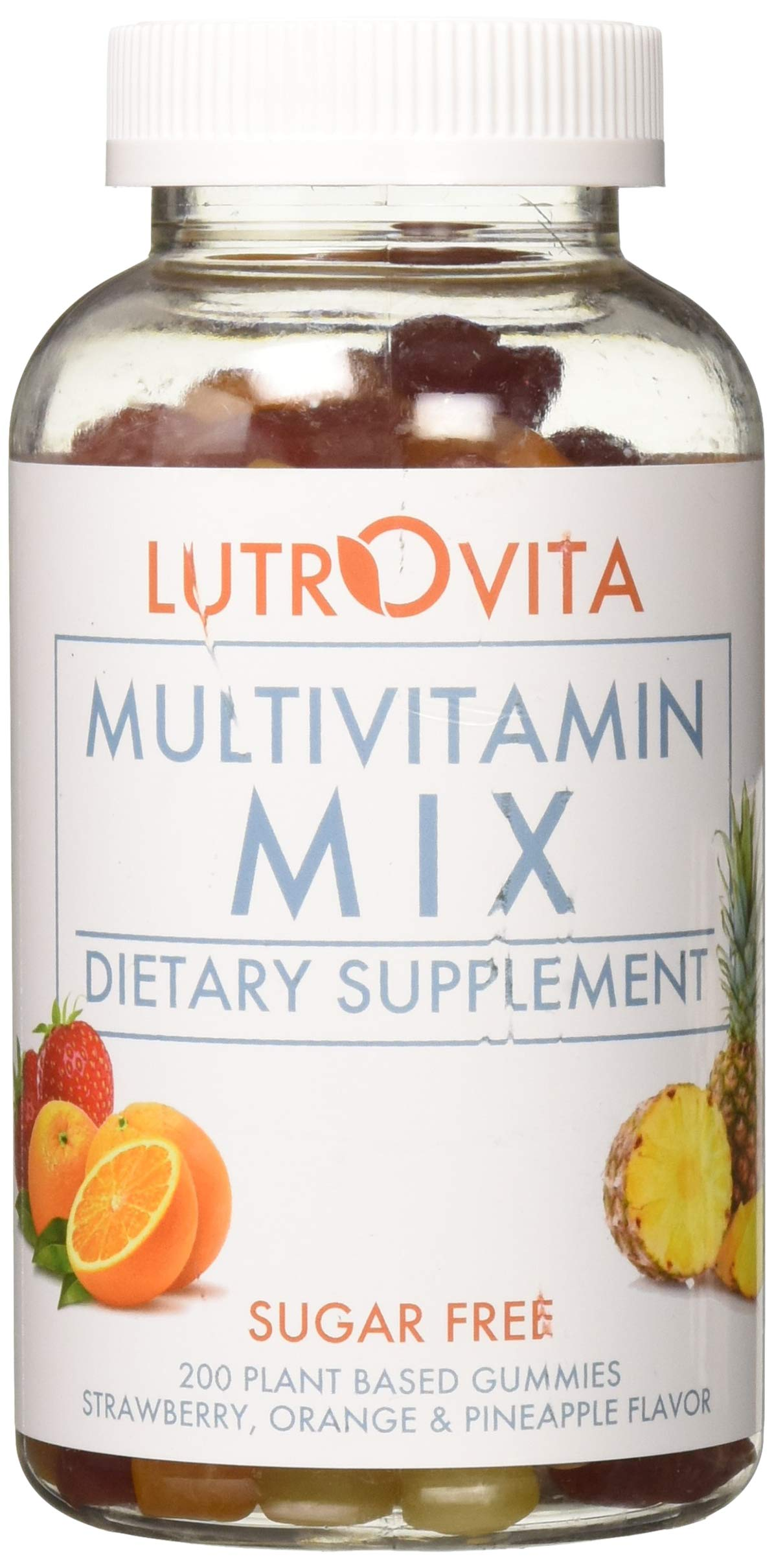 Lutrovita Sugar Free Multivitamin Gummy, Pineapple, Orange, Strawberry, 200 Count