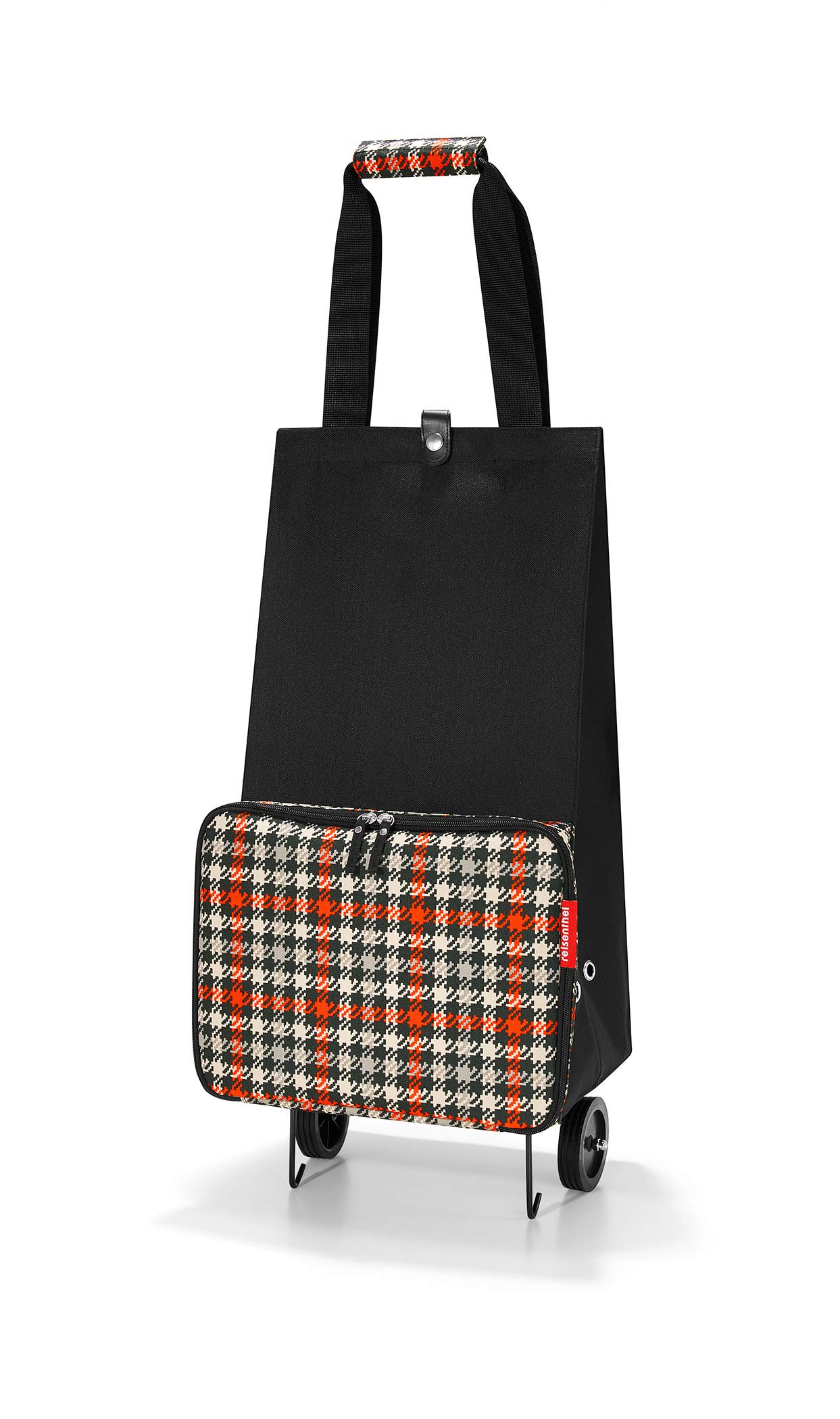 reisenthel Foldable Trolley Bag, Packable Oversized Tote with Wheels, Glencheck Red by reisenthel