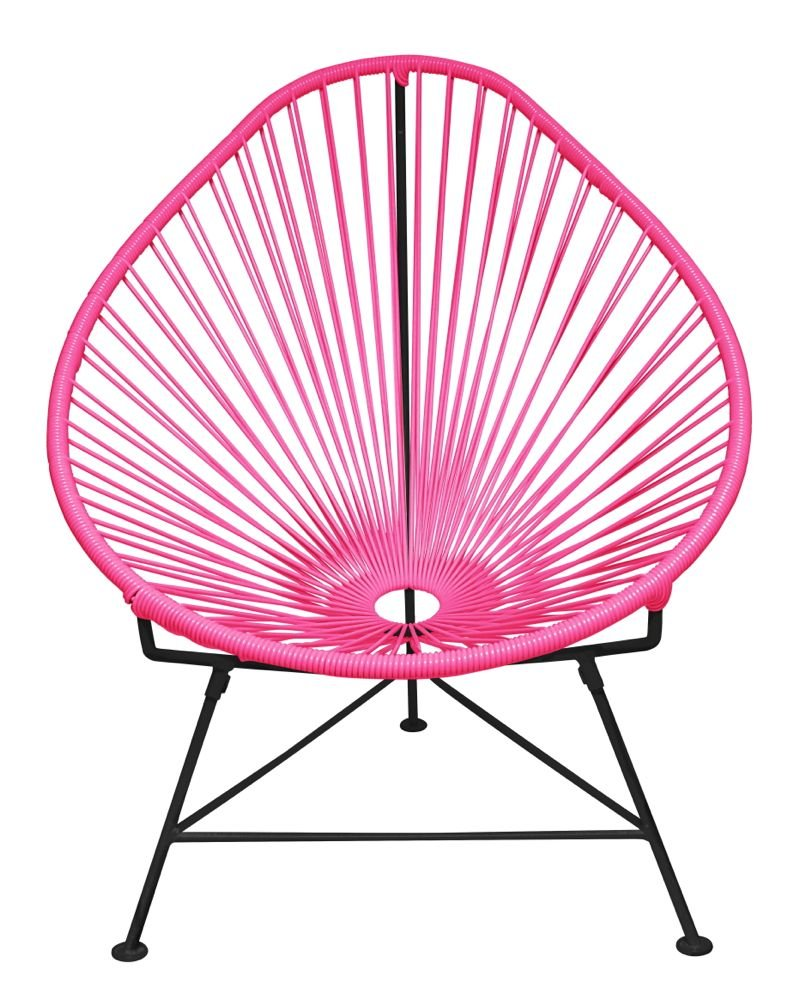 Amazon.com : Innit Designs Acapulco Chair, Pink Weave On Black Frame :  Patio Lounge Chairs : Patio, Lawn U0026 Garden
