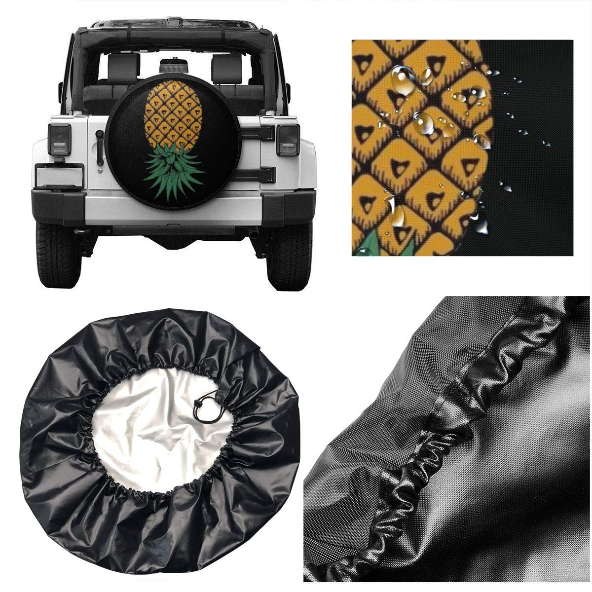 RV JOMMP-PO Upside Down Pineapple Symbol Spare Tire Cover Waterproof Dust-Proof Universal Spare Wheel Tire Cover Fit for Jeep,Trailer SUV and Many Vehicle